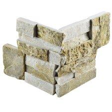 """Piedro 7"""" x 7"""" Natural Stone Corner Tile Trim in Sunstone"""