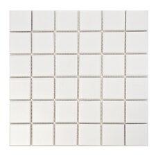 """Retro 2"""" x 2"""" Quad Porcelain Mosaic Tile in Matte White"""