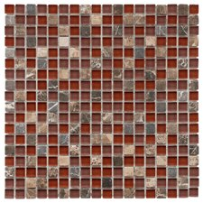 "Sierra 0.625"" x 0.625"" Glass and Natural Stone Mosaic Tile in Bordeaux"