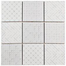 "Geogloss 3.88"" x 3.88"" Porcelain Mosaic Tile in White"