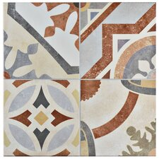 "Hydraulic 13"" x 13"" Ceramic Tile in Beige and Terracotta"