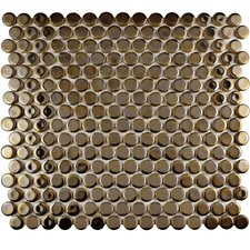 "Penny 0.8"" x 0.8"" Porcelain Mosaic Tile in Antique Gold"