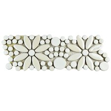 "Tucana 4.25"" x 12.75"" Flower Porcelain Mosaic Border Tile in White"