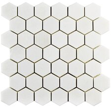 "Formation 1.88"" x 1.88"" Hex Marble Mosaic Tile in White"