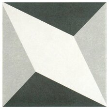 "Forties 7.75"" x 7.75"" Ceramic Floor and Wall Tile in Diamond White and Gray"