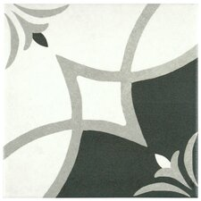 "Forties 7.75"" x 7.75"" Ceramic Floor and Wall Tile in Crest White and Gray"