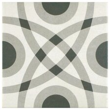 "Forties 7.75"" x 7.75"" Ceramic Floor and Wall Tile in Circle White and Gray"