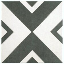 "Forties 7.75"" x 7.75"" Ceramic Floor and Wall Tile in Vertex White and Gray"