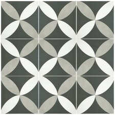 "Forties 7.75"" x 7.75"" Ceramic Floor and Wall Tile in Petal White and Gray"