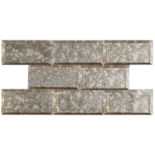 """Lumin 3"""" x 6"""" Glass Subway Tile in Antique Mirror"""
