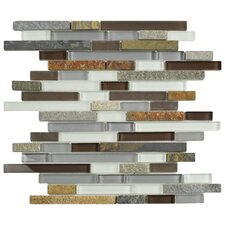 "Sierra 11.75"" x 11.875"" Glass and Natural Stone Mosaic Tile in Tundra"