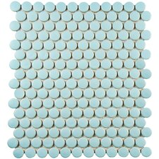 "Retro 0.75"" x 0.75"" Penny Round Porcelain Mosaic Tile in Matte Light Blue"