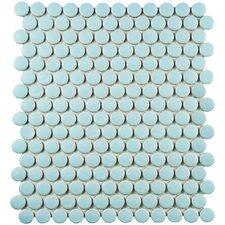 "Retro 0.75"" x 0.75"" Penny Round Porcelain Mosaic Tile in Matte Light Blue"
