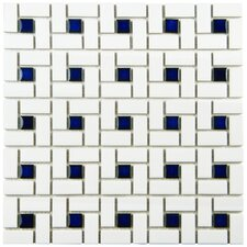 "Retro 12.5"" x 12.5"" Porcelain Mosaic Tile in White and Blue"