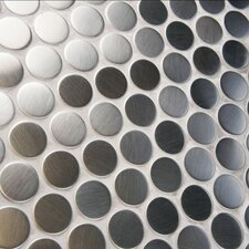 """Metallic .75"""" x .75"""" Penny Round Stainless Steel Over Porcelain Mosaic Tile in Silver"""