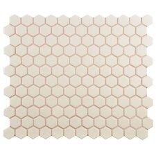 "New York 0.875"" x 0.875"" Hex Porcelain Unglazed Mosaic Tile in Antique White"
