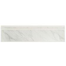 """Zokalo 12.38"""" x 3.25"""" Bullnose Molding Tile Trim in Satin White Marble"""
