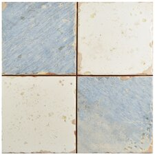 "Artisanal 13"" x 13"" Ceramic Field Tile in Damero Azul"