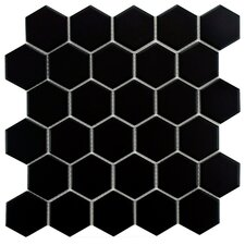 "Retro 2"" x 2"" Hex Porcelain Mosaic Tile in Matte Black"