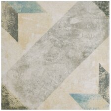 """Herculanea 9.5"""" x 9.5"""" Star Porcelain Floor and Wall Tile in Blue"""
