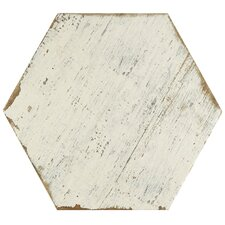 "Rama 14.13"" x 16.25"" Hex Porcelain Floor and Wall Tile in White"