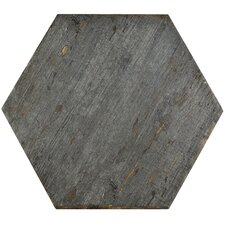 "Rama 14.13"" x 16.25"" Hex Porcelain Floor and Wall Tile in Grey"