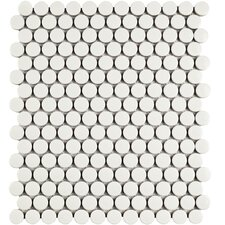 "Retro .75"" x .75"" Penny Round Porcelain Mosaic Tile in Glossy White"