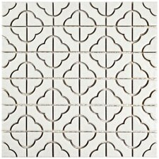 Castle 11.75'' x 11.75'' Porcelain Mosaic Tile in White