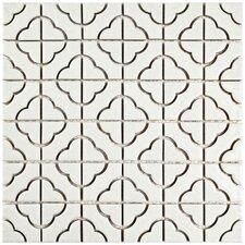 Castle 11.75'' x 11.75'' Porcelain Mosaic Tile in White