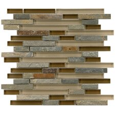"Sierra 11.625"" x 11.75"" Glass and Natural Stone Mosaic Tile in Brixton"