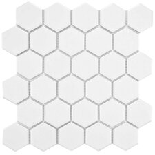 "Retro 2"" x 2"" Hex Porcelain Mosaic Tile in Matte White"