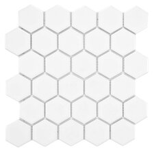 "Retro 2"" x 2"" Hex Porcelain Mosaic Tile in Glossy White"