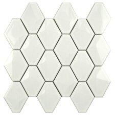"Fractal 2.75"" x 3.5"" Porcelain Mosaic Tile in Glossy White"