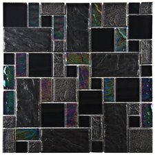 "Eden 11.75"" x 11.75"" Glass and Stone Mosaic Tile in Iris"