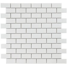 "Retro 0.88"" x 1.875"" Porcelain Mosaic Tile in Glossy White"