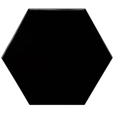 "Hexitile 7"" x 8"" Porcelain Field Tile in Glossy Black"
