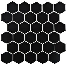 "Retro 2"" x 2"" Hex Porcelain Mosaic Tile in Glossy Black"