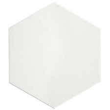 "Hexitile 7"" x 8"" Porcelain Field Tile in Glossy White"