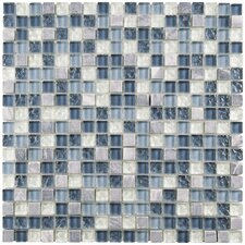 """Sierra 0.625"""" x 0.625"""" Glass and Natural Stone Mosaic Tile in Gulf"""
