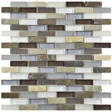 """Sierra 0.875"""" x 1.875"""" Glass and Natural Stone Mosaic Tile in Tundra"""