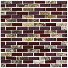 "Sierra 0.5"" x 1.875"" Glass and Natural Stone Mosaic Tile in Bordeaux"