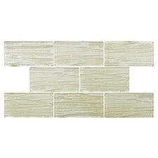 "Timber Glass 3"" x 6"" Glass Subway Tile in Cream"