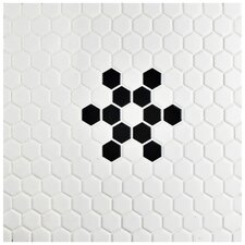 "Retro 0.875"" x 0.875"" Hex Porcelain Mosaic Tile in Matte White with Snowflake"