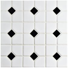 "Cambridge 11.5"" x 11.5"" Porcelain Mosaic Tile in Matte White with Black Dot"