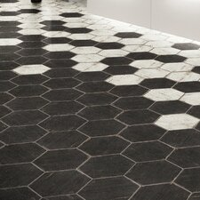 "Rama 14.13"" x 16.25"" Hex Porcelain Floor and Wall Tile in Black"