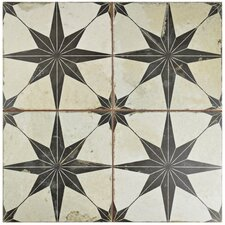 "Galactic 17.63"" X 17.63"" Ceramic Field Tile in Black"