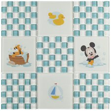 """Disney Baby 11.75"""" x 11.75"""" Glass Mosaic Tile in Blue"""
