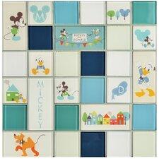 """Disney Classic 11.75"""" x 11.75"""" Glass Mosaic Tile in Aqua"""
