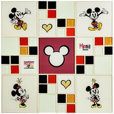 """Disney Mickey and Minnie 11.75"""" x 11.75"""" Glass Mosaic Tile in White"""