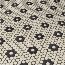 """New York 0.875"""" x 0.875"""" Hex Porcelain Unglazed Mosaic Tile in Antique White with Heavy Flower"""